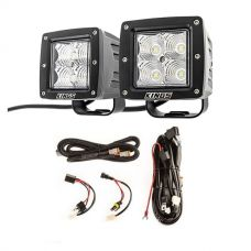 "Adventure Kings 3"" LED Work Light - Pair + Plug N Play Smart Wiring Harness Kit"