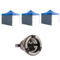 3x Adventure Kings Gazebo Side Wall + 2in1 LED Light & Fan