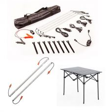Adventure Kings Illuminator 4 Bar Camp Light Kit + Orange LED Camp Light Extension Kit +Adventure Kings Aluminium Roll-Up Camping Table