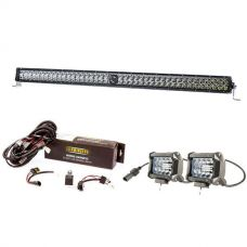"Kings 40"" Laser Light Bar + Spotlight Wiring Harness + 4"" LED Light Bar"