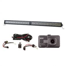 "Kings 40"" Laser Light Bar + Illuminator LED Light Bar Wiring Harness + Dash Camera"