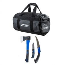 Kings 40L Large PVC Duffle Bag + Kings Three Piece Axe, Folding Saw and Knife Kit