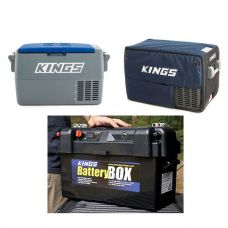 Adventure Kings 45L Camping Fridge + 45L Camping Fridge Cover + Maxi Battery Box