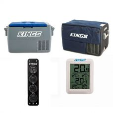 Adventure Kings 45L Camping Fridge + Kings 45L Camping Fridge Cover + Wireless Fridge Thermometer + 12V Accessory Panel