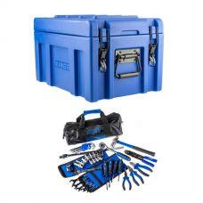Kings 45L Tough Front Opening Storage Box + Essential Bush Mechanic Toolkit