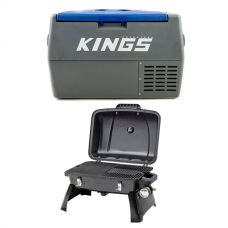 Adventure Kings 45L Camping Fridge + Gasmate Voyager Portable BBQ