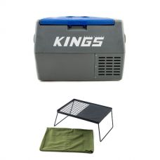 Adventure Kings 45L Camping Fridge + Camp Fire BBQ Plate