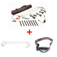 Adventure Kings Illuminator 4 Bar Camp Light Kit + Orange LED Camp Light Extension Kit + LED Head Torch