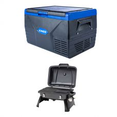 Kings 50L Fridge / Freezer + Voyager Portable Gas BBQ
