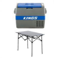 Adventure Kings 60L Camping Fridge + Aluminium Roll-Up Camping Table