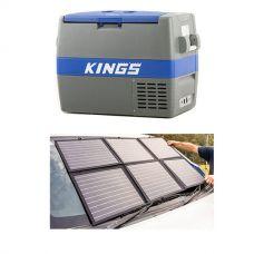 Adventure Kings 60L Camping Fridge/Freezer + 120W Portable Solar Blanket with PWM Regulator