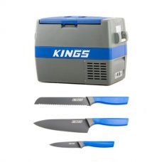Adventure Kings 60L Camping Fridge/Freezer + 4-Piece Camping Chef's Knives Kit