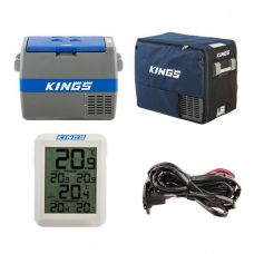 Adventure Kings 60L Camping Fridge + 60L Camping Fridge Cover + 12V Fridge Wiring Kit + Wireless Fridge Thermometer
