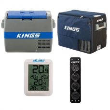 Adventure Kings 60L Camping Fridge/Freezer + 60L Camping Fridge Cover + Wireless Fridge Thermometer + 12V Accessory Panel