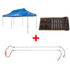 Adventure Kings - Gazebo 6m x 3m + Complete 5 Bar Camp Light Kit + Orange LED Camp Light Extension Kit