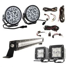 "Adventure Kings Domin8r Xtreme 7"" LED Driving Lights (Pair) + 20"" LETHAL MKIII Slim Line LED Light Bar + Plug N Play Harness + Light Bar Wiring Harness + 3"" LED Work Light - Pair"