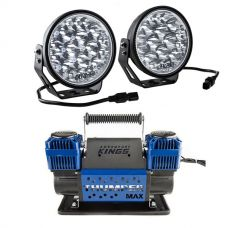 "Adventure Kings Domin8r Xtreme 7"" LED Driving Lights (Pair) + Thumper Max Dual Air Compressor MkII"