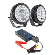 "Kings 7"" Laser Driving Lights (Pair) + 1000A Lithium Jump Starter"