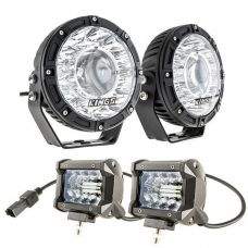 "Kings 7"" Laser Driving Lights (Pair) + 4"" LED Light Bar"