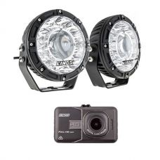 "Kings 7"" Laser Driving Lights (Pair) + Dash Camera"