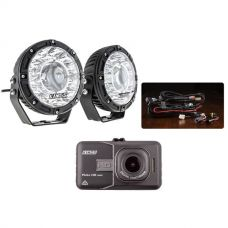 "Kings 7"" Laser Driving Lights (Pair) + Smart Harness + Dash Camera"