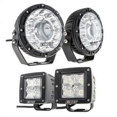 "Kings 7"" Laser Driving Lights (Pair) + 3"" LED Work Light - Pair"