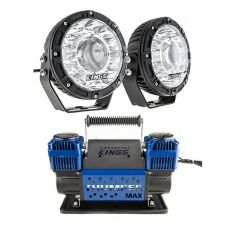 "Kings 7"" Laser Driving Lights (Pair) + Thumper Max Dual Air Compressor MkII"