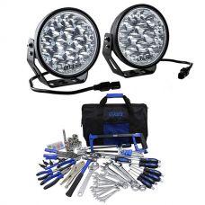 "Adventure Kings Domin8r Xtreme 7"" LED Driving Lights (Pair) + Ultimate Bush Mechanic Tool Kit"