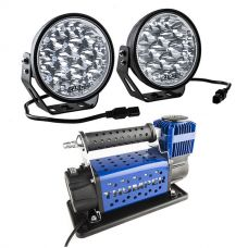 "Adventure Kings Domin8r Xtreme 7"" LED Driving Lights (Pair) + Thumper Air Compressor MkIII"