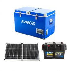 Adventure Kings 70L Camping Fridge/Freezer + 160w Solar Panel with PWM Regulator + Battery Box