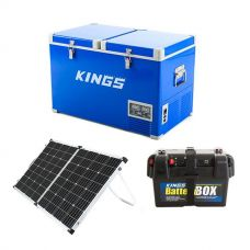 Adventure Kings 70L Camping Fridge/Freezer + 160w Solar Panel with PWM Regulator + Battery Box