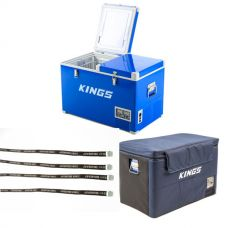 Adventure Kings 70L Camping Fridge + 70L Camping Fridge Cover + Fridge Tie Down Straps (4 pack)