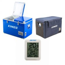 Adventure Kings 70L Camping Fridge/Freezer + 70L Camping Fridge Cover + Wireless Fridge Thermometer