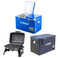 Adventure Kings 70L Camping Fridge/Freezer + 70L Camping Fridge Cover + Gasmate Voyager Portable Gas BBQ
