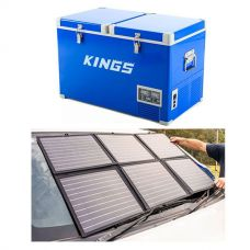 Adventure Kings 70L Camping Fridge + 120W Portable Solar Blanket
