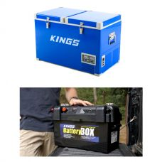 Adventure Kings 70L Camping Fridge/Freezer + Maxi Battery Box