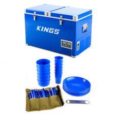 Adventure Kings 70L Camping Fridge/Freezer + Adventure Kings 37 Piece Picnic Set