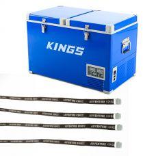 Adventure Kings 70L Camping Fridge/Freezer + Fridge Tie Down Straps (4 pack)