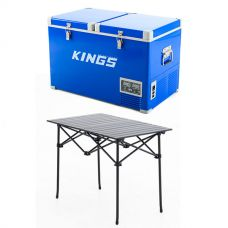 Adventure Kings 70L Camping Fridge/Freezer + Adventure Kings Aluminium Roll-Up Camping Table