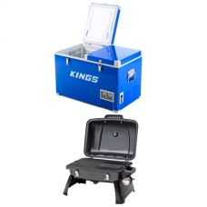 Adventure Kings 70L Camping Fridge + Voyager Portable BBQ