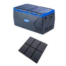 Kings 75L Dual Zone Fridge / Freezer + Adventure Kings 200W Solar Blanket with MPPT