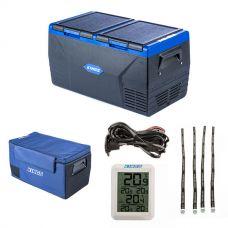 Kings 75L Dual Zone Fridge / Freezer + 12V Fridge Wiring Kit + 75L Fridge Cover + Wireless Fridge Thermometer + Fridge Tie Down Straps (4 pack)