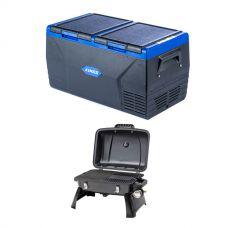 Kings 75L Dual Zone Fridge / Freezer + Gasmate Voyager Portable BBQ