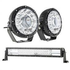 """Kings 7"""" Laser Driving Lights (Pair) + Domin8r 22"""" LED Light Bar"""