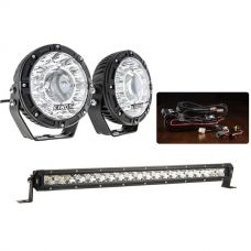 "Kings 7"" Laser Driving Lights (Pair) + 20"" LETHAL MKIII Slim Line LED Light Bar + Smart Harness"