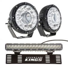 "Kings 7"" Laser Driving Lights (Pair) + 15"" Numberplate LED Light Bar"