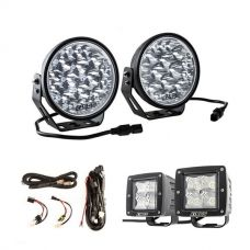 "Adventure Kings Domin8r Xtreme 7"" LED Driving Lights (Pair) + Plug N Play Smart Wiring Harness Kit + 3"" Work Lights (Pair)"