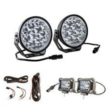 "Adventure Kings Domin8r Xtreme 7"" LED Driving Lights (Pair) + Plug N Play Smart Wiring Harness Kit + 4"" LED Light Bar"