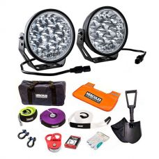 "Adventure Kings Domin8r Xtreme 7"" LED Driving Lights (Pair) + Hercules Complete Recovery Kit"