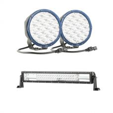 "Kings Domin8r X 7"" Driving Lights fitted with OSRAM LEDs (Pair) + Domin8r 22"" LED Light Bar"